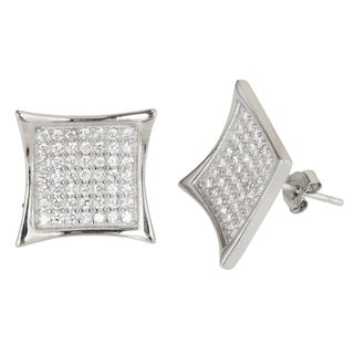 Decadence Sterling Silver Micro-pave Stud Cubic Zirconia Concave Square Earrings