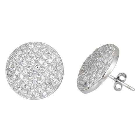 Decadence Sterling Silver Micropave Stud Cubic Zirconia Disc Earrings