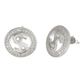 Decadence Sterling Silver Micro-pave Stud Cubic Zirconia Dollar Sign Earrings