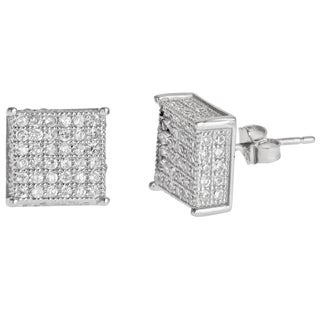 Decadence Sterling Silver Micro-pave Stud Cubic Zirconia Square Earrings