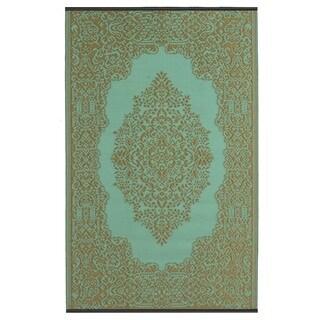 Istanbul Fair Aqua/ Bronze Area Rug (4' x 6')