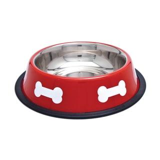 Fashion Steel Bowl Red W/White Bones 16oz-