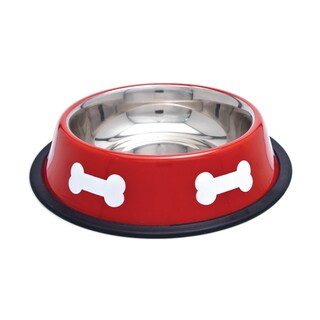 Fashion Steel Bowl Red W/White Bones 16oz-