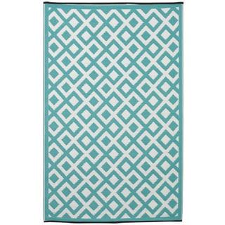 Handmade Indo Marina Eggshell Blue/ Bright White Area Rug (4' x 6')
