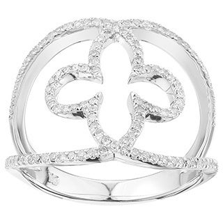 10k White Gold 1/3ct TDW White Diamond Clover Ring