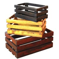 Decorative Old Colored Wooden Crates (Set of 3)