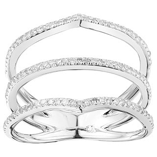 10k White Gold 1/3ct TDW Diamond Three-band Engagement Ring