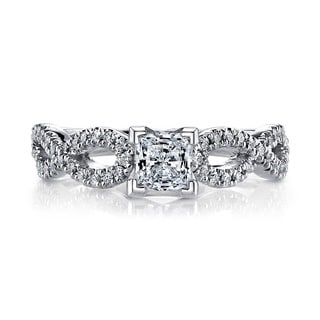 14k White Gold 1/2ct TDW Twist Princess Diamond Engagement Ring