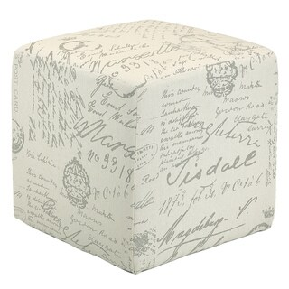 Cortesi Home Linen Beige Script Braque Cube Ottoman