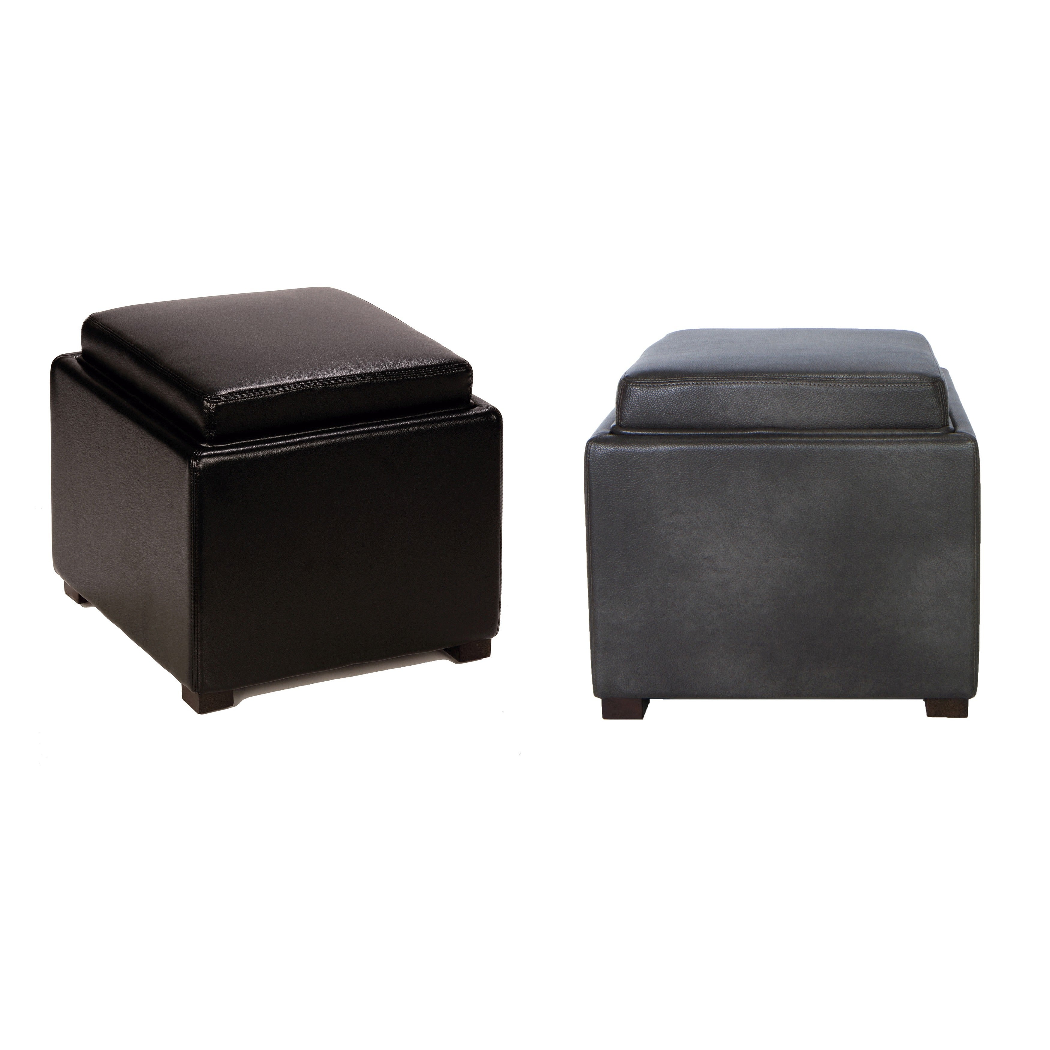 Stupendous Cortesi Home Bonded Leather Mavi Black Storage Tray Ottoman Alphanode Cool Chair Designs And Ideas Alphanodeonline