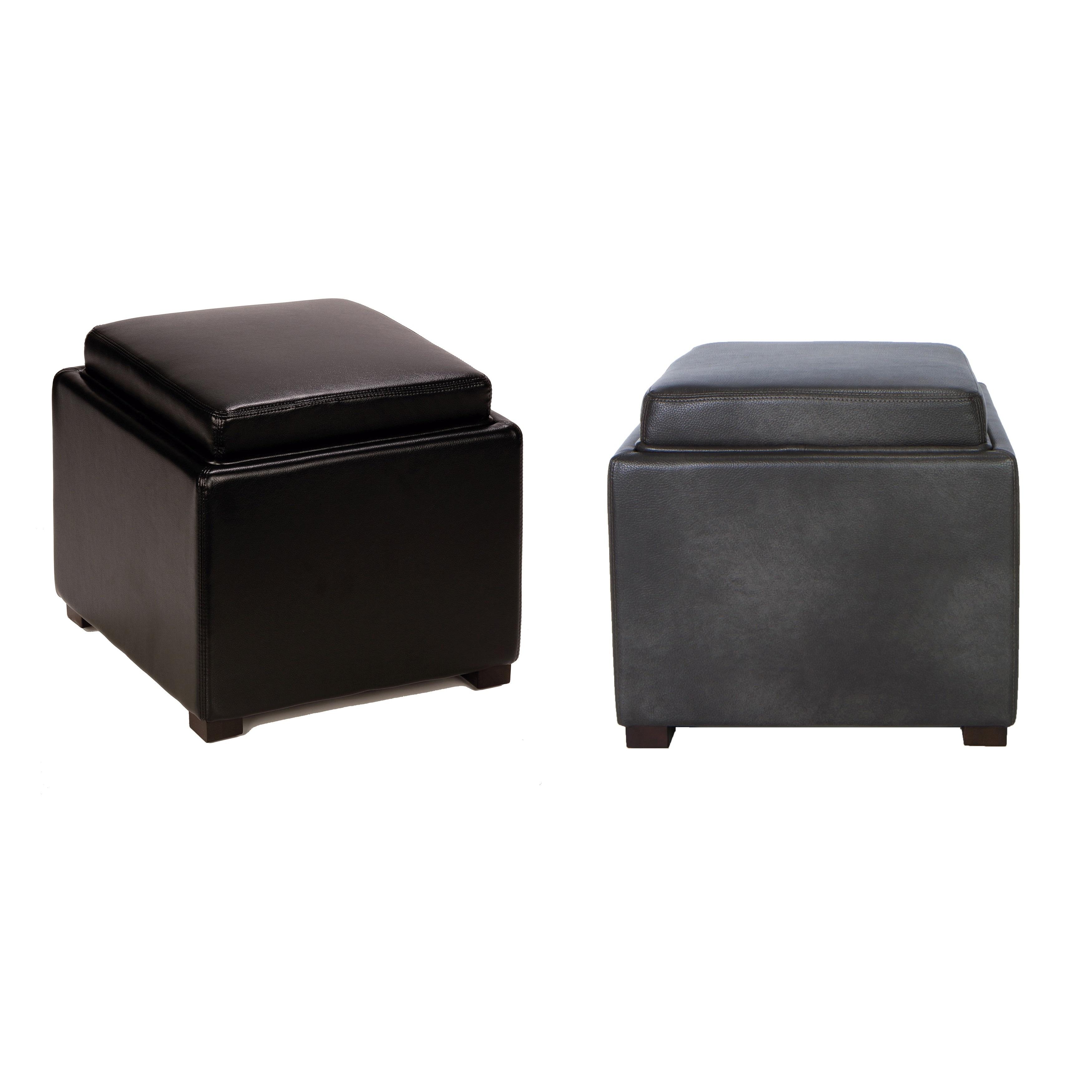 Cortesi Home Bonded Leather Mavi Black Storage Tray Ottom...