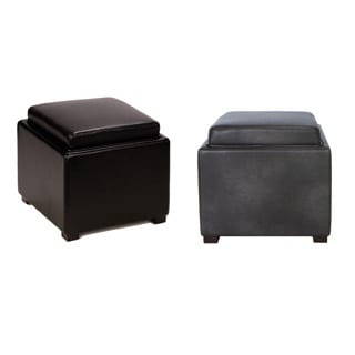 Cortesi Home Bonded Leather Mavi Black Storage Tray Ottoman