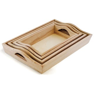"Paintable Wood Trays 4/Set-4.25""X7.5"" To 6.75""X10.25"""