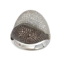 Suzy Levian Sterling Silver Brown Cubic Zirconia Micro Pave Ring