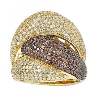 Suzy Levian Gold Over Sterling Silver Cubic Zirconia Crossover Ring