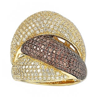 Suzy Levian Gold Over Sterling Silver Cubic Zirconia Crossover Ring (More options available)