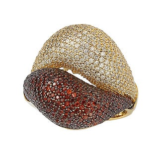 Suzy Levian Goldplated Red and White Cubic Zirconia Micro Pave Ring