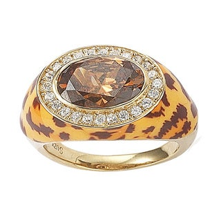 Suzy Levian Goldplated Sterling Silver Oval Brown Cubic Zirconia Animal Print Ring