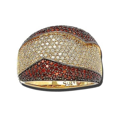 Suzy L. Goldplated Sterling Silver Red and White Cubic Zirconia Anniversary Ring