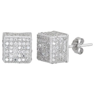 Decadence Sterling Silver Micropave CZ Cube Stud Earrings