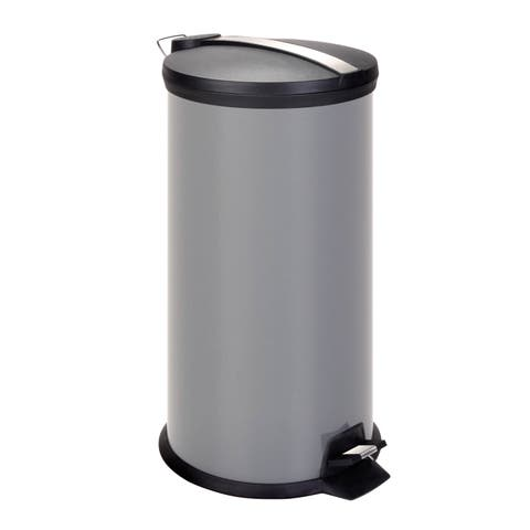 Honey Can Do Steel 30-liter Round Grey Step Trash Can