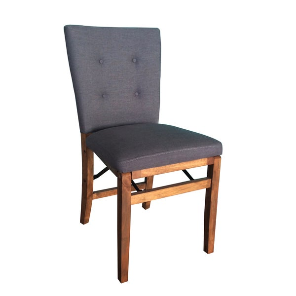 HomePop Solid Wood Grey Folding Chair Free Shipping  : HomePop Wood Folding Chair with Gray Linen Fabric Padded Seat Back 206dbbda cf7f 4ab3 8283 7156be117e8f600 from www.overstock.com size 600 x 600 jpeg 22kB