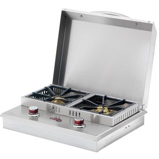 Cal Flame Stainless Steel Built-In Dual Fuel Gas Double Side Burner