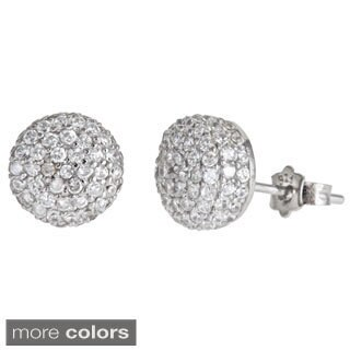 Decadence Sterling Silver Rounded CZ Micropave Stud Earrings