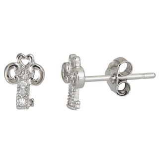 Decadence Sterling Silver Key Shaped Micropave CZ Stud Earrings