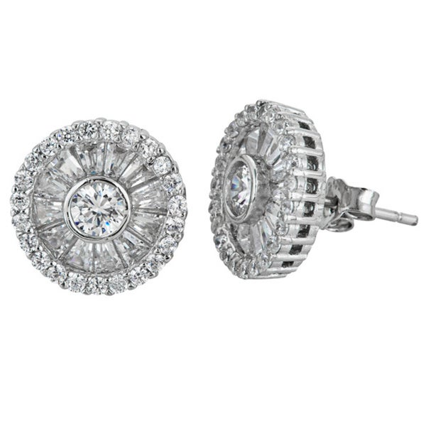 Decadence Sterling Silver Micropave Baguette and Round Cut CZ Stud Earrings