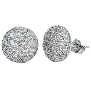 Decadence Sterling Silver Micropave CZ Circle Stud Earrings