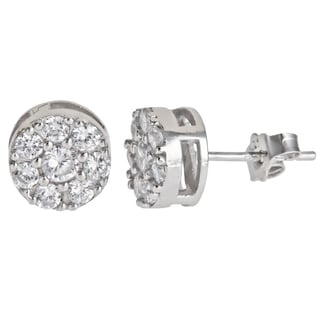 Decadence Sterling Silver Micropave CZ Round Stud Earrings
