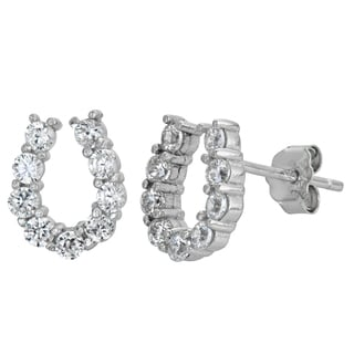 Decadence Sterling Silver Micropave CZ Horseshoe Stud Earrings