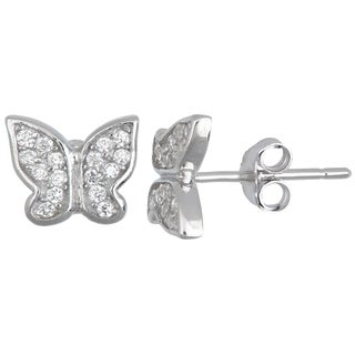 Decadence Sterling Silver Micropave CZ Butterfly Stud Earrings