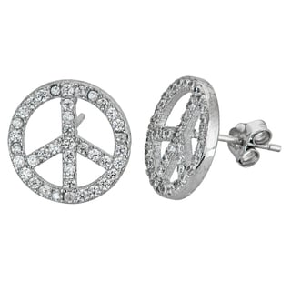 Decadence Sterling Silver Micropave CZ Peace Stud Earrings