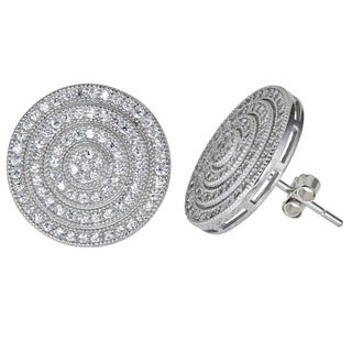 Decadence Sterling Silver Micropave CZ Circular Disc Earrings