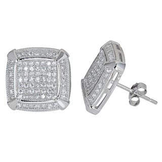 Decadence Sterling Silver Fancy Micropave Square-cut Stud Earrings