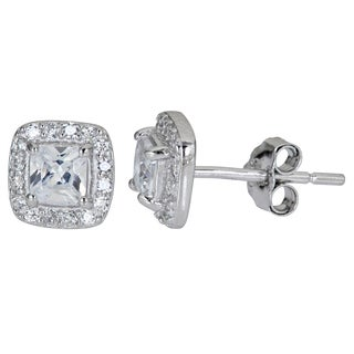 Decadence Sterling Silver Cushion Cut CZ Stud Earrings