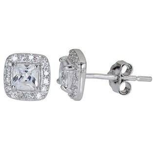 Decadence Sterling Silver Cushion Cut CZ Stud Earrings
