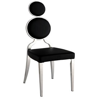 Somette Oriana Chrome/ Black Double Ring Back Dining Chair (Set of 2)
