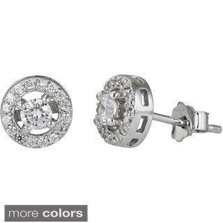 Decadence Sterling Silver Micropave CZ Halo Round Cut Stud Earrings