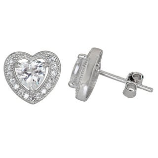 Decadence Sterling Silver Heart-shaped Micropave CZ Stud Earrings