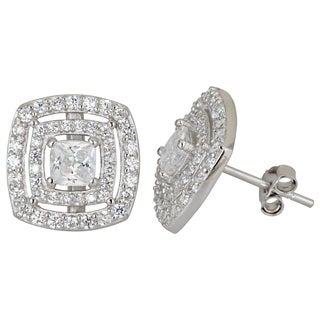 Decadence Sterling Silver Princess Cut CZ Double Halo Stud Earrings