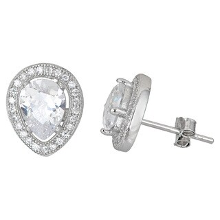 Decadence Sterling Silver Micropave CZ Halo Teardrop Stud Earrings
