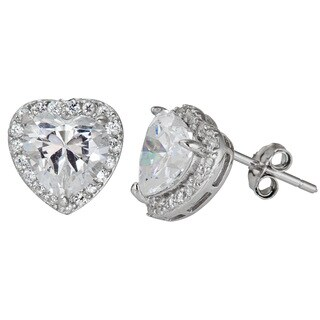 Decadence Sterling Silver CZ Halo Heart Micropave Stud Earrings