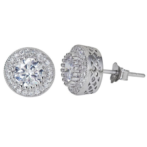 bf31660c9 Shop Decadence Sterling Silver Round-cut Micropve CZ Halo Stud Earrings -  Free Shipping On Orders Over $45 - Overstock - 9736831