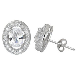 Decadence Sterling Silver Halo Oval Cut Micropave CZ Stud Earrings