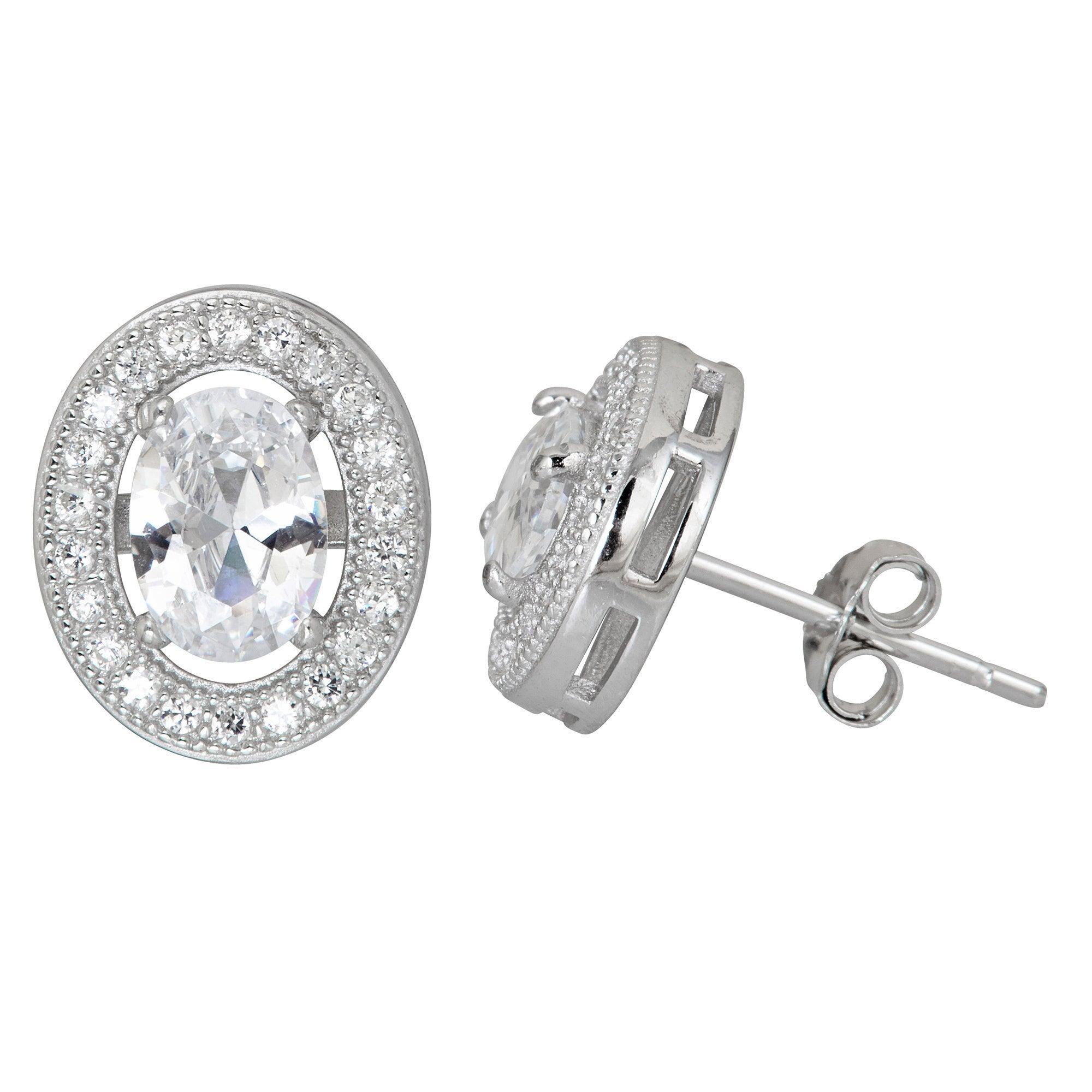Sterling Silver Cubic Zirconia Oval Halo Stud Earrings