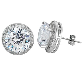 Decadence Sterling Silver Micropave Halo Round Cut Solitaire Studs