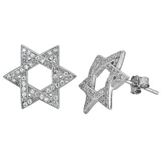 Decadence Sterling Silver Micropave CZ Star of David Stud Earrings